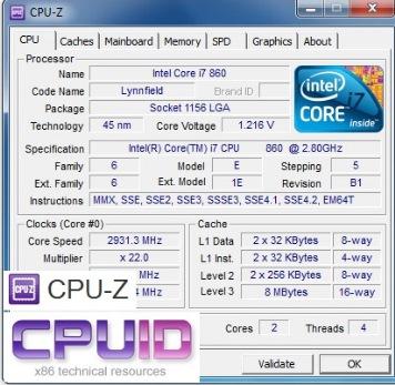 Скриншот к CPU-Z