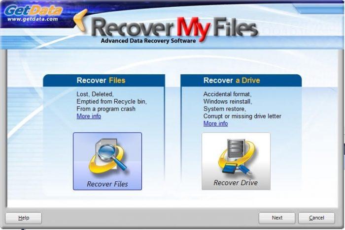 Главное окно Recover My Files