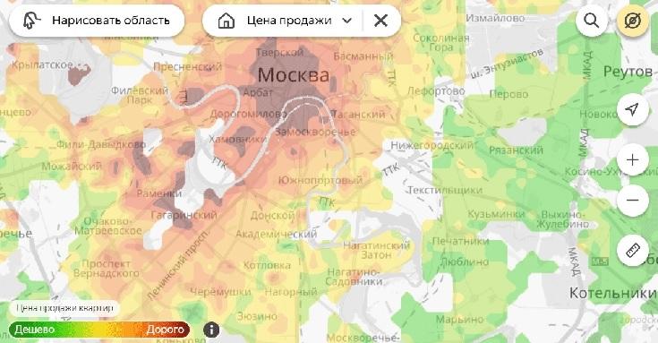 Тепловой рейтинг цен на жилье от Яндекс