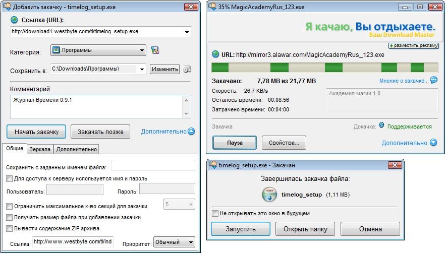 Скриншоты главного окна Download Master